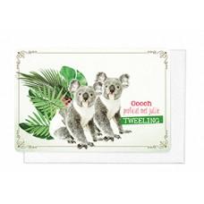 Wenskaart met koala's - Ooooh proficiat met jullie tweeling (1842)